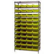 "Chrome Wire Shelving with 44 4""H Plastic Shelf Bins Yellow, 36x24x74"