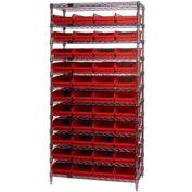 "Chrome Wire Shelving with 44 4""H Plastic Shelf Bins Red, 36x24x74"
