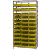 "Chrome Wire Shelving with 33 4""H Plastic Shelf Bins Yellow, 36x24x74"