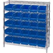 "Chrome Wire Shelving with 25 4""H Plastic Shelf Bins Blue, 36x14x36"