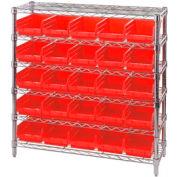 "Chrome Wire Shelving with 25 4""H Plastic Shelf Bins Red, 36x14x36"