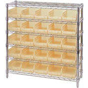 "Chrome Wire Shelving with 25 4""H Plastic Shelf Bins Stone, 36x14x36"