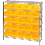 "Chrome Wire Shelving with 25 4""H Plastic Shelf Bins Yellow, 36x14x36"
