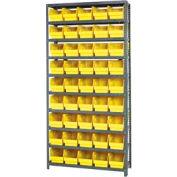 """Quantum 1275-202 Steel Shelving With 45 6""""H Shelf Bins Yellow, 36x12x75-10 Shelves"""