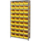 "Steel Shelving With 36 4""H Plastic Shelf Bins Yellow, 36x18x72-13 Shelves"
