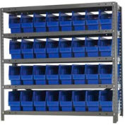 "Quantum 1239-201 Steel Shelving With 32 6""H Shelf Bins Blue, 36x12x39-5 Shelves"