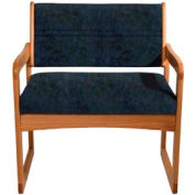 Bariatric Sled Base Chair - Medium Oak/Blue Water Pattern Fabric
