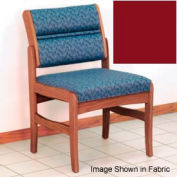 Guest Chair w/o Arms - Medium Oak/Burgundy Vinyl