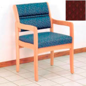 Guest Chair w/ Arms - Light Oak/Burgundy Arch Pattern Fabric