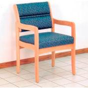 Guest Chair w/ Arms - Light Oak/Blue Leaf Pattern Fabric