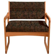 Bariatric Sled Base Chair - Medium Oak/Earth Water Pattern Fabric