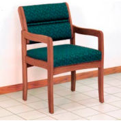 Guest Chair w/ Arms - Medium Oak/Green Leaf Pattern Fabric