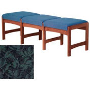 Three Person Bench - Mahogany/Green Leaf Pattern Fabric