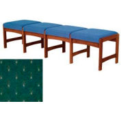 Four Person Bench - Mahogany/Green Arch Pattern Fabric