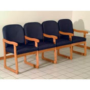 Quadruple Sled Base Chair w/ Arms - Medium Oak/Blue Arch Pattern Fabric