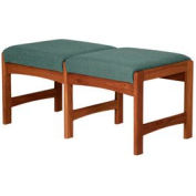 Two Person Bench - Mahogany/Green Fabric
