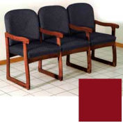 Triple Sled Base Chair w/ Arms - Mahogany/Burgundy Vinyl