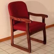Single Sled Base Chair w/ Arms - Mahogany/Burgundy Arch Pattern Fabric