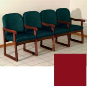 Quadruple Sled Base Chair w/ Arms - Mahogany/Burgundy Vinyl