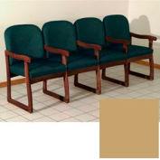 Quadruple Sled Base Chair w/ Arms - Mahogany/Cream Vinyl