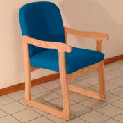 Single Sled Base Chair w/ Arms - Light Oak/Blue Vinyl
