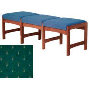 Three Person Bench - Mahogany/Green Arch Pattern Fabric