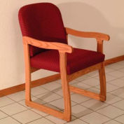 Single Sled Base Chair w/ Arms - Medium Oak/Burgundy Arch Pattern Fabric
