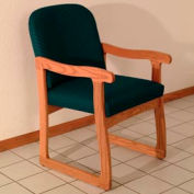 Single Sled Base Chair w/ Arms - Medium Oak/Green Arch Pattern Fabric