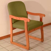 Single Sled Base Chair w/ Arms - Medium Oak/Olive Arch Pattern Fabric