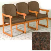 Triple Sled Base Chair w/ Arms - Medium Oak/Earth Water Pattern Fabric