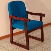 Single Sled Base Chair w/ Arms - Mahogany/Blue Vinyl