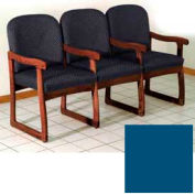 Triple Sled Base Chair w/ Arms - Mahogany/Blue Vinyl