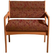 Bariatric Standard Leg Chair - Medium Oak/Rose Water Pattern Fabric