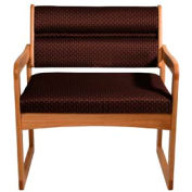 Bariatric Sled Base Chair - Medium Oak/Burgundy Arch Pattern Fabric