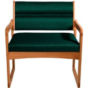 Bariatric Sled Base Chair - Medium Oak/Green Arch Pattern Fabric