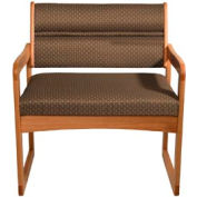 Bariatric Sled Base Chair - Medium Oak/Khaki Arch Pattern Fabric
