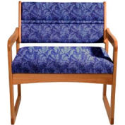 Bariatric Sled Base Chair - Medium Oak/Blue Leaf Pattern Fabric