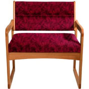 Bariatric Sled Base Chair - Medium Oak/Burgundy Leaf Pattern Fabric