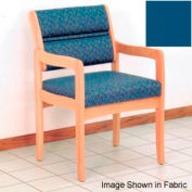 Guest Chair w/ Arms - Light Oak/Blue Vinyl