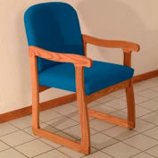 Single Sled Base Chair w/ Arms - Medium Oak/Blue Vinyl