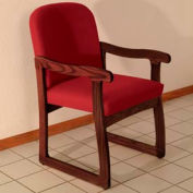 Single Sled Base Chair w/ Arms - Mahogany/Burgundy Vinyl