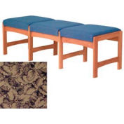 Three Person Bench - Medium Oak/Taupe Leaf Pattern Fabric