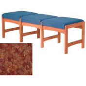 Three Person Bench - Medium Oak/Rose Water Pattern Fabric