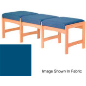 Three Person Bench - Light Oak/Blue Vinyl