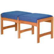 Two Person Bench - Medium Oak/Blue Fabric