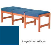 Three Person Bench - Medium Oak/Blue Vinyl
