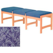 Three Person Bench - Light Oak/Blue Leaf Pattern Fabric