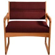 Bariatric Sled Base Chair - Medium Oak/Burgundy Fabric