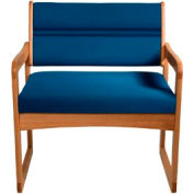 Bariatric Sled Base Chair - Medium Oak/Blue Vinyl