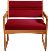 Bariatric Sled Base Chair - Medium Oak/Burgundy Vinyl